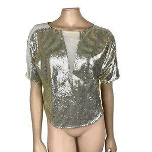 Sparkle + Fade Gold Sequin Top Medium